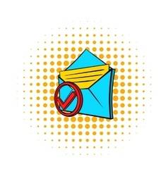 Delivered e-mail icon pop-art style vector