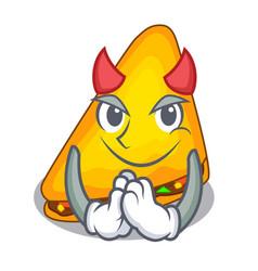 Devil quesadilla on a table in mascot vector