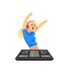 Dj girl in headphones dancing before mixer console vector