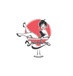Drink me sexy pinup girl sitting in martini glass vector