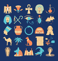 egypt colorful icons set in flat style vector image