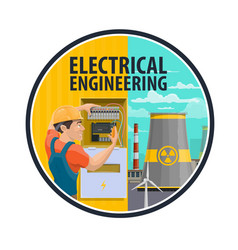 Electrical engineering power plant electrician vector