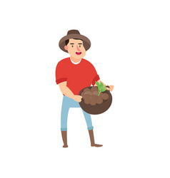 farmer s crop from the garden flat design farmers vector image