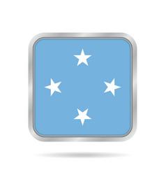 Flag of micronesia metallic gray square button vector