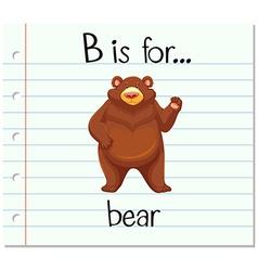 Flashcard letter B is for bear vector