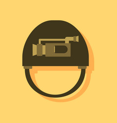 Flat icon design collection helmet with video cam vector