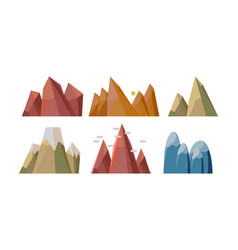 flat set of different rocky mountains vector image
