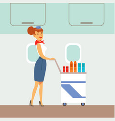 flight attendant serving drinks on a plane part vector image