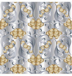 Floral 3d seamless pattern ligh vector