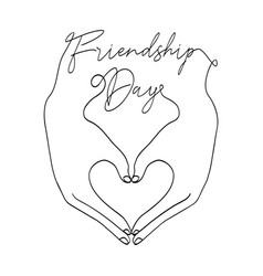 Friendship day card of love heart shape hands vector