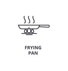 frying pan line icon outline sign linear symbol vector image