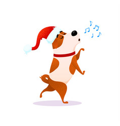 funny cartoon dancing dog sings xmas character vector image