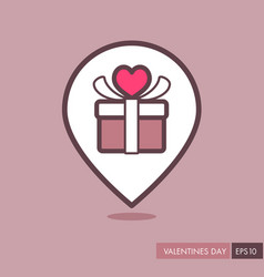 gift box sign pin map icon present with heart vector image