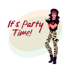 Glam rock party invitation banner template with vector