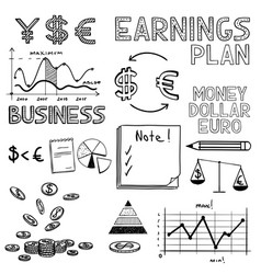 Hand draw business finance doodle sketch money vector