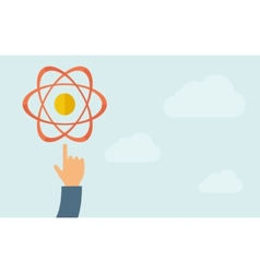 Hand pointing to science technology icon vector