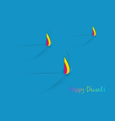 happy diwali celebration template in paper cut vector image