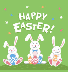 happy easter card easter cartoon bunnies with vector image