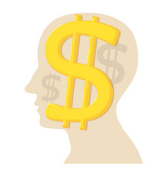Head with dollar icon cartoon style vector