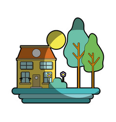 House with trees and plant with flowers and sun vector