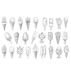 Ice cream cone sundae dessert and stick sketches vector