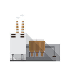 industrial factory building with pipes emitting vector image