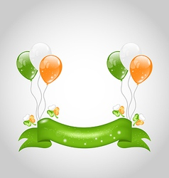 Irish balloons with clovers and ribbon vector