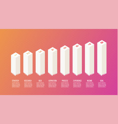 isometric infographics diagram bar chart graph vector image
