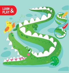 kid game coloring crocodile printable worksheet vector image
