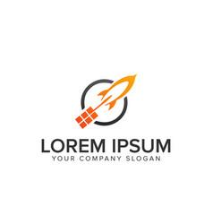 lauch rocket logo vector image