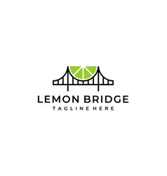Lemon fruit slice with bridge logo design template vector