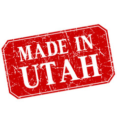 Made in utah red square grunge stamp vector