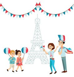 Man and woman on national holiday france people vector