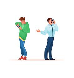 Men using smartphones talking or playing games vector
