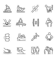 monochrome chiropractic icon set physical vector image