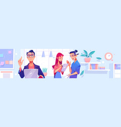 people work in office concept of teamwork vector image