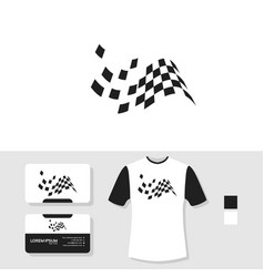 Racing flag logo design with business card and t vector