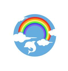Rainbow with dolphin logo playful design vector