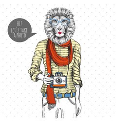 Retro hipster animal lion with photo camera woman vector