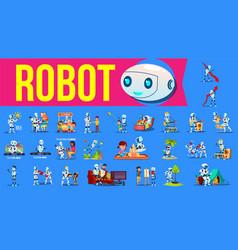 robot helper set future lifestyle vector image