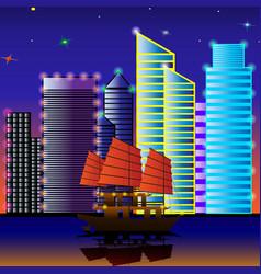 sailing ship sails through the water vector image