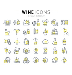 Set flat line icons wine vector