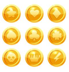 Set golden coins with star heart club heart vector