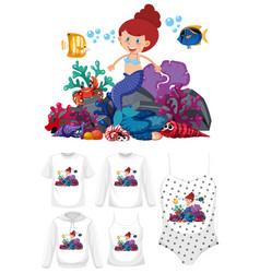 set mermaid clothes mockup vector image