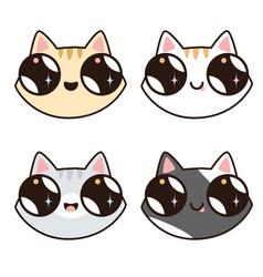 Set of 4 kawaii cats 4 cat faces vector