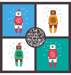 set of cards with the bears Christmas vector image