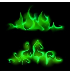 Set of Different Green Fire Flame Bonfire vector image