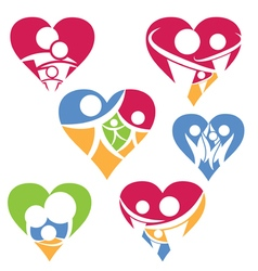 Set of happy family icon in heart vector image