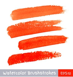 Set red watercolor brush strokes vector