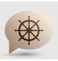 Ship wheel sign Brown gradient icon on bubble vector image